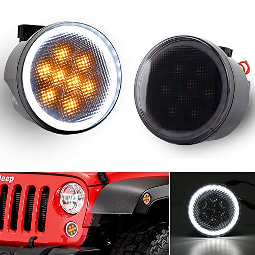 JK Turn Signal Lights with Halo Front Grill Indicator Driving Parking Lights Smoke Lens Replace 2007-2017 Jeep Wrangler JK - Plastic Driving Lights Housing