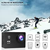 4K Action Camera, 16MP WiFi Ultra HD Underwater Waterproof 30M Sports Camcorder with 170° Degree Wide Angle Lens, 2 Rechargeable Batteries and Mounting Accessories Kits 8-20-4KFX001