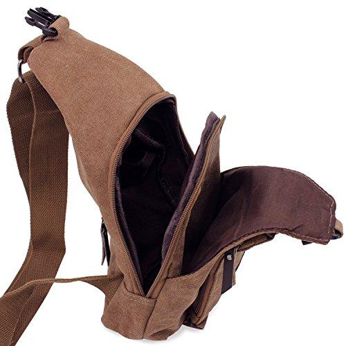 hombro lona café de bolsillo pecho de hombres Sling bolsa bolsa Ocio viaje la Senderismo PsmGoods® Mochila 5wBzqRq