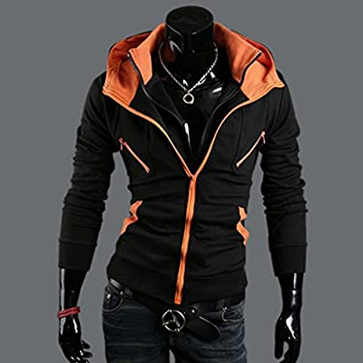 Mens Stylish Fashion Slim Fit Double Zipper Jacket Hoodie Coat PK26