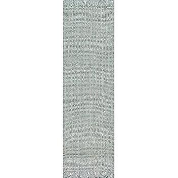 """nuLOOM Handmade Natural Fibers Chunky Loop Runner Rugs, 2 6"""" x 8, Sage"""