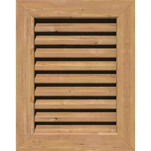 Ekena Millwork GVWVE12X1801SFUWR Unfinished, Functional, Smooth Western Red Cedar with 1-Inch x 4-Inch Flat Trim Vertical Gable Vent 17-Inch x 23-Inch Frame Size, 12-Inch x 18-Inch - Gable Vent Louver Trim