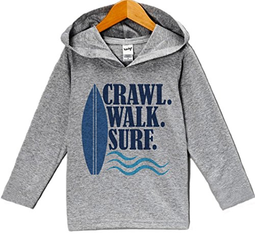 (Custom Party Shop Boy's Crawl Walk Surf Summer Hoodie Pullover 2T Grey and Navy)