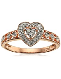 10k Rose Gold Heart Vintage Diamond Accent Ring, Size 5