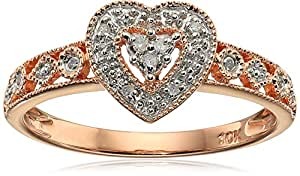 10k Rose Gold Heart Vintage Diamond Accent Ring, Size 7