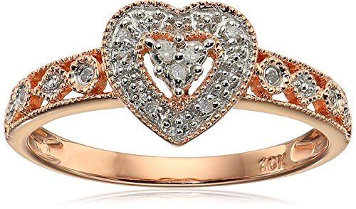 - 10k Rose Gold Heart Vintage Diamond Accent Ring, Size 7