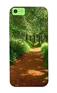 Iphone 5c Case - PC Case Protective For Iphone 5c- Forest Road Landscape Case For Thanksgiving's Gift