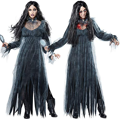 cyclamen9 Women's Zombie Ghost Bride Costume Veil Long Gothic Halloween Corpse Countess Graveyard Bride Costume Dress Outfits (M) ()