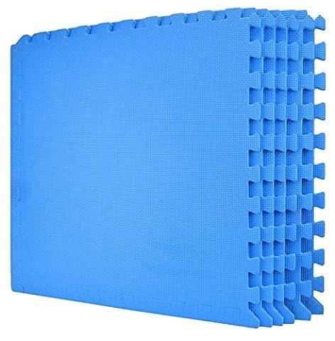 Wacces 24 x 24 inch Multi-Purpose Puzzle EVA Floor Interlocking Foam Exercise Mat Tiles - Blue (Carpet Static)