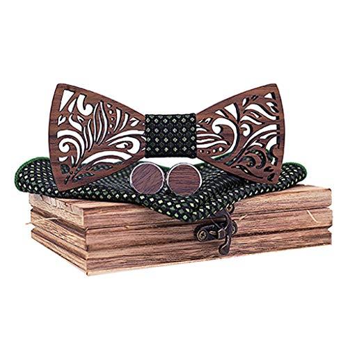 BXzhiri Men's Bowtie Wood Hollow Classic Handmade Mens Wood Bow Tie with Matching Pocket Square Men's Cufflinks Lapel Flower Set