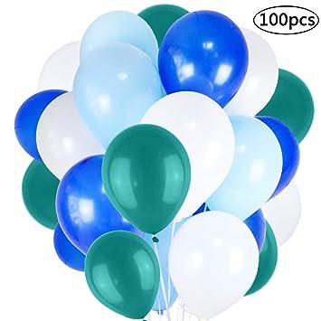 BESTZY 100 Globos Azules y Globos Blancos Decoración , Globo ...