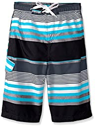 Kanu Surf Big Boys Optic Stripe Swim Trunks Black/Aqua 10/12