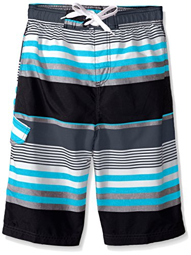 Kanu Surf Big Boys' Optic Stripe Swim Trunk, Black/Aqua, Large (14/16)
