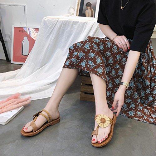 Voberry Sandalen, Mode Frauen Blume Flache Ferse Anti Skidding Strand Schuhe Sandalen Slipper Gelb