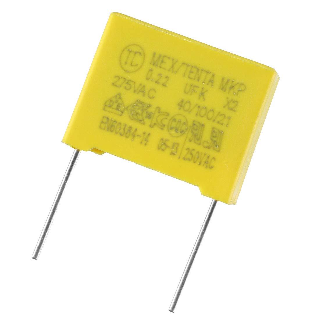 sourcing map Condensadores de pel/ícula de polipropileno de seguridad de 0,22uF 275VAC X2 MKP 5 PCS