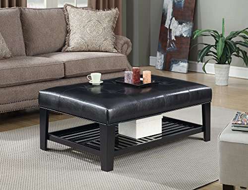Convenience Concepts Designs4Comfort Braxton Cocktail Ottoman, Black (Leather Coffee Table Shelf With Ottoman)