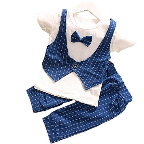 Baby Boys Gentlemant Plaids Bow False Vest T Shirt Fifth Pants Set Blue-Medium (6M/12M)