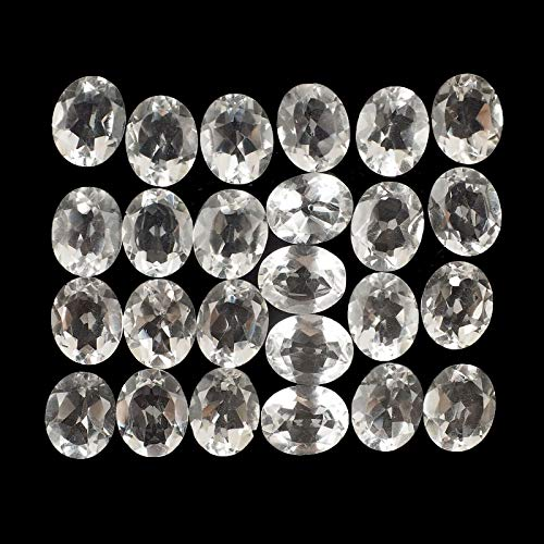 Natural White Quartz 10mm/8mm 25 Pcs Oval Cut Loose Gemstones Wholesale