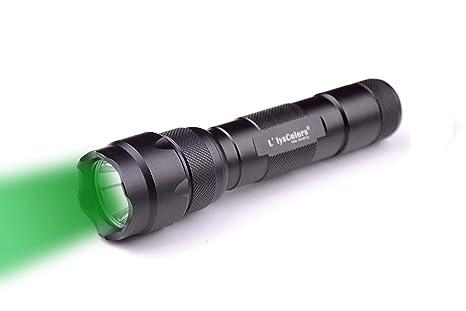 587f36c2093792 L LYSCOLORS - GRÜN-LICHT LED Taschenlampe Jagd inkl. 18650 Akku und Holster