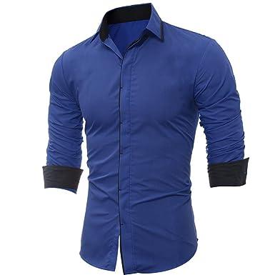 Camisa de Hombre Camisa de Manga Larga Casual Masculina de Rayas de Colores sólidos de Internet: Amazon.es: Ropa y accesorios