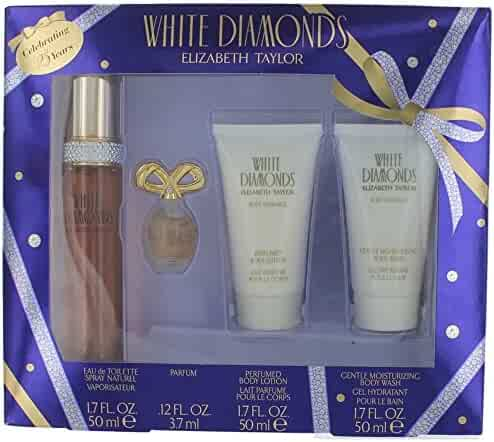 Elizabeth Taylor's White Diamonds 4 Pc Gift Set for Women Includes 1.7 Oz Cologne (EDT) Spray, .12 Oz Perfume (EDP), 1.7 Oz Body Lotion, and 1.7 Oz Body Wash
