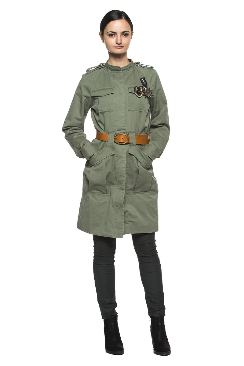Women's Army Olive Green Military Style Cargo Belted Trench Coat Anorak Jacket (Small)