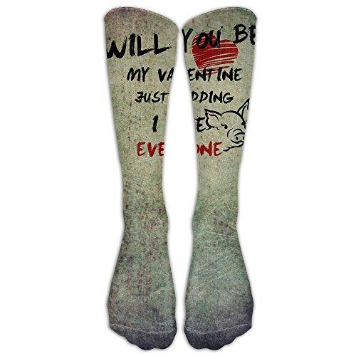 Will You Be My Valentine Hate You Pig Lover Fashion Leg Warmer Woman Training Socks Designer Unique Socks