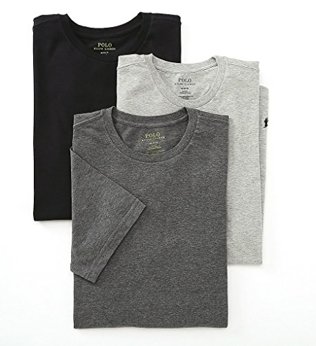 (Polo Ralph Lauren Slim Fit Crew Neck Undershirts 3-Pack Grey Assorted Large)
