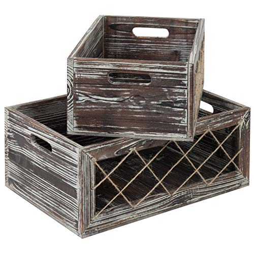 MyGift Rustic Torched Wood Nesting Storage Crates with Rope, Set of 2