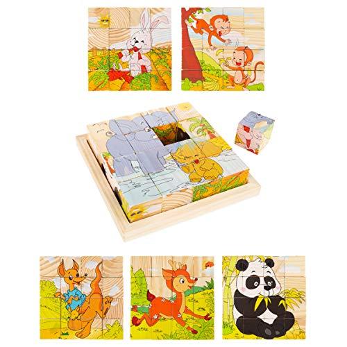 (Animal Block Puzzle- 6-in-1 Zoo Patterns - Elephant, Monkey, Rabbit, Kangaroo, Panda & Deer, 16 Wood Cubes in Storage Tray for Kids by Hey! Play!)
