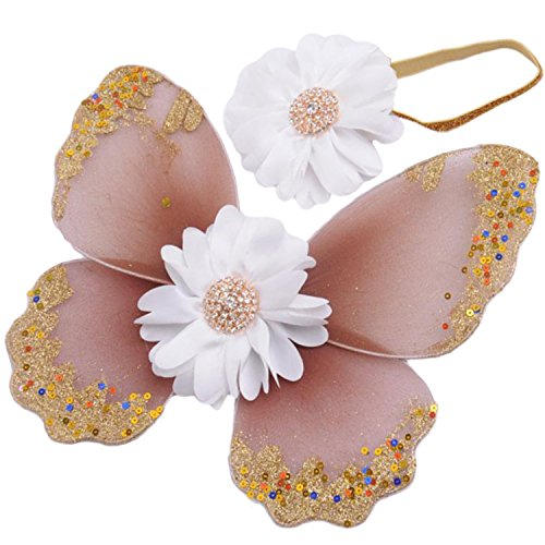 Coucoland Newborns Baby Photography Props Newborns Flower Photography Butterfly Wings and Headband Set Baby Hair Accessories Photo Prop Costume (White Flower with Amber Wings) -