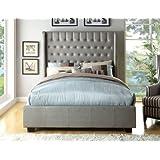 Furniture of America Minka Leatherette Platform Bed with High Panel Headboard, Eastern King, Silver