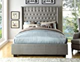 California King Size Bed Dimensions in Feet Furniture of America Minka Leatherette Platform Bed with High Panel Headboard, California King, Silver