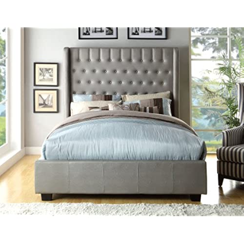 furniture of america minka leatherette platform bed with high panel headboard eastern king silver - European Bed Frame