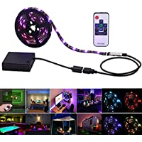 Inwaysin Led Strip Lights USB Battery Powered RGB Strip Light 6.56ft(2M) 60leds Flexible Tape Light with RF Remote Controller for HDTV, Flat Screen TV Accessories and Desktop PC, Multi Color
