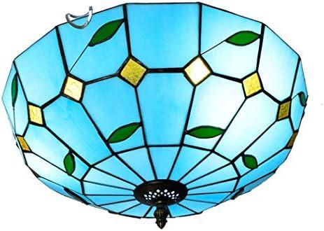 Candelabro, lámpara de techo Tiffany de vidrio, pantalla azul ...
