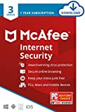 McAfee Internet Security, 3 Device, Antivirus Software, Password Manager, 1 Year Subscription- [Download Code]- 2020 Ready