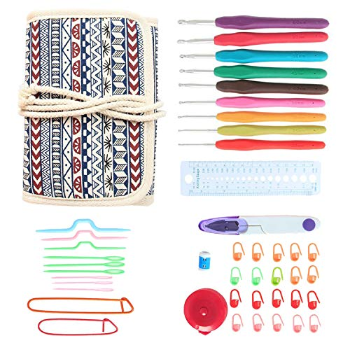 Damero Ergonomic Crochet Hooks Set, Travel Canvas Roll Organizer with 9pcs 2mm to 6mm Soft Grip Crochet Hooks and Complete Knitting Accessories, All in One, Easy to Carry, Bohemian by Damero