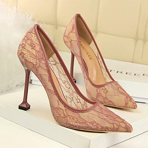 ALUK- Damenschuhe - Europa und die Vereinigten Staaten Stöckelschuhe mit spitzen sexy Knospe Seidengarn einzelnen Schuhen ( Farbe : Grün , größe : 34-Shoes long220mm ) Lila
