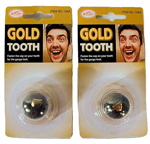 2 Fake Gold Teeth - Slip on Gold False Tooth ()