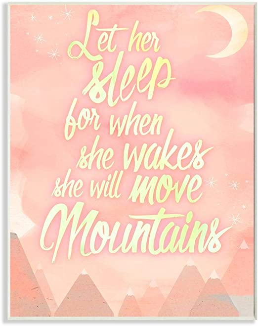 Proudly Made in USA 10 x 0.5 x 15 Stupell Home D/écor Let Her Sleep Pink Water Color Mountains Wall Plaque Art