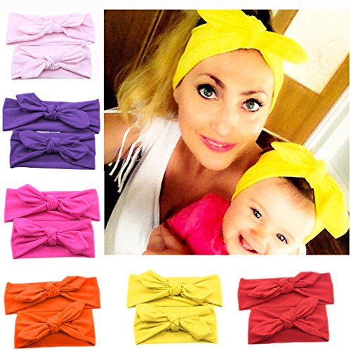 Bodermincer Mommy and Me Matching Rabbit Ears Headbands Photo Prop Gift for Mom and Kids Elastic Cloth Bowknot Hairband Accessories