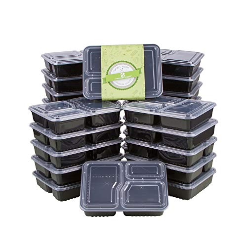 HOMELODY Meal Prep Containers 3 Compartment [20 Pack] Bento Box with Lids,BPA Free Reusable Food Storage Lunch Box,Microwaveable,Dishwasher and Freezer Safe Food Containers for Portion Control(34 oz
