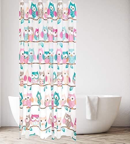 kieragrace KG Beth PEVA Shower Curtain 71-Inch, Teal and Pink Owls Bath Accessory, (Bath Owl Accessories)