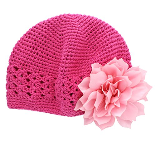 My Lello Little Girl's Crochet Beanie Hat with Flower One Size Hot Pink/Light Pink