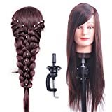 HAIREALM 26'' Mannequin Head Hair Styling Training Head Manikin Cosmetology Doll Head Synthetic Fiber Hair (Table Clamp Stand Included) SC04P