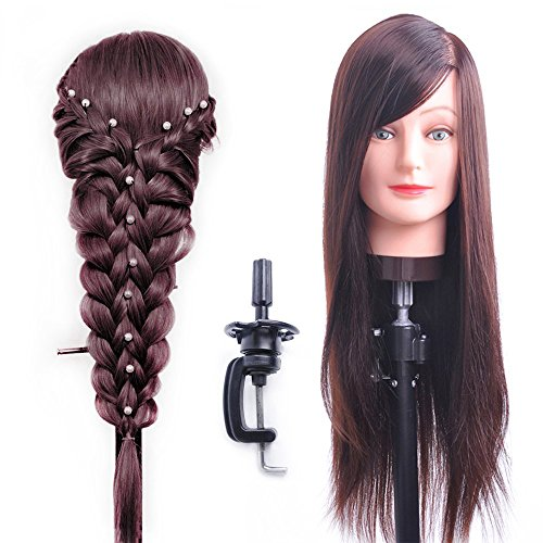 HAIREALM 26'' Mannequin Head Hair Styling Training Head Manikin Cosmetology Doll Head Synthetic Fiber Hair (Table Clamp Stand Included) SC04P by HAIREALM