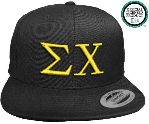 SIGMA CHI Flat Brim Snapback Hat Yellow Letters / Sig Chi | Sigs | Fraternity Cap