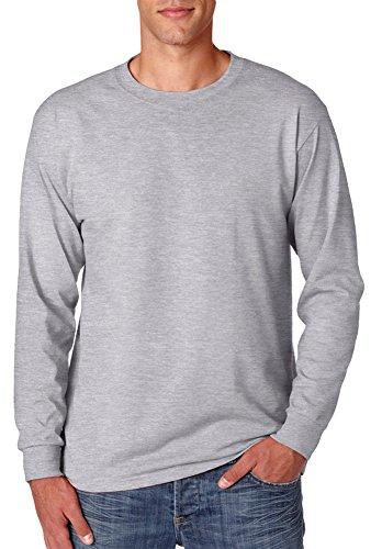 Jerzees mens 5.6 oz. 50/50 Heavyweight Blend Long-Sleeve T-Shirt(29L)-ATHLETIC HEATHER-2XL