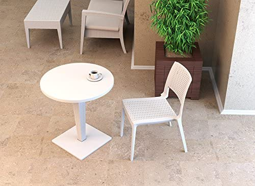 Table de jardin ronde en résine tressée SARA RONDE Blanc ...